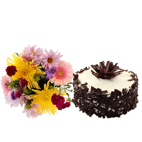 Black Forest Layer Cake with Flowers