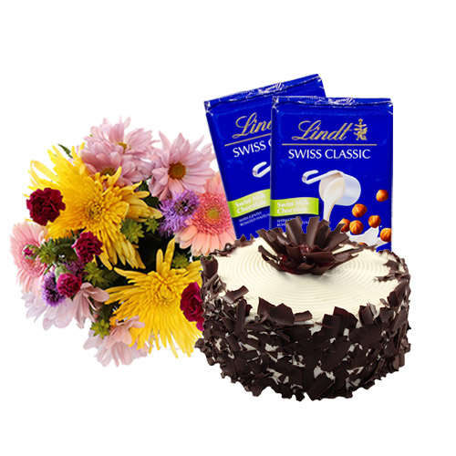 Black Forest Layer Cake with Flowers and Chocolate