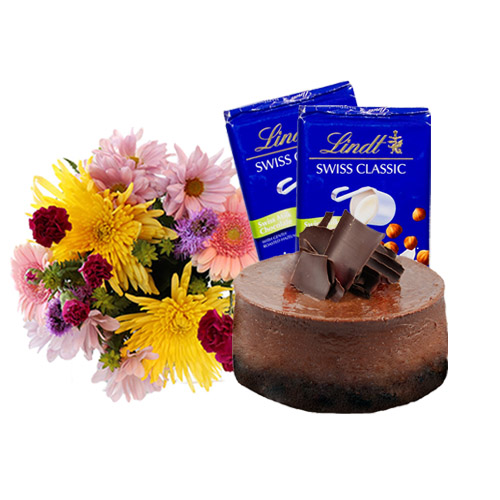 Chocolate Cheesecake with Flowers and Chocolate