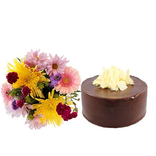 Dark Choco Cake with Flowers