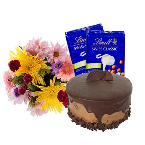 Dark chocolate Fudge Cake with Flowers and Chocolate