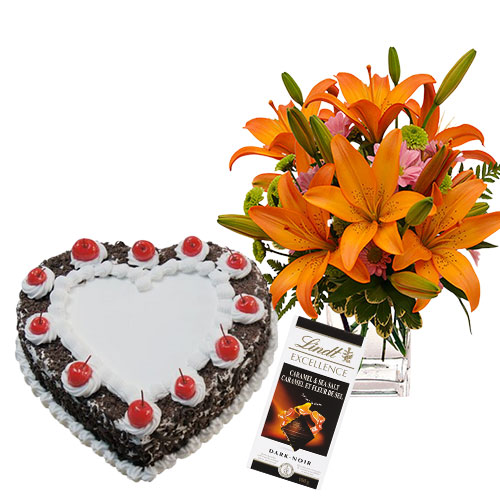 Heart shaped Black Forest Cake with Flowers