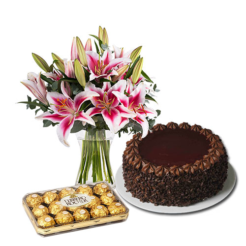 Pink Lilies with Chocolate Cake