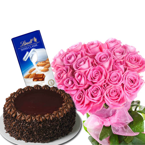 Lovely Combo of Rose with Cake