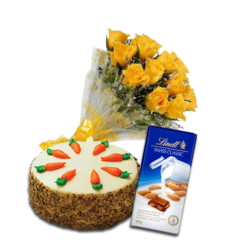 Flowers with Carrot Cake