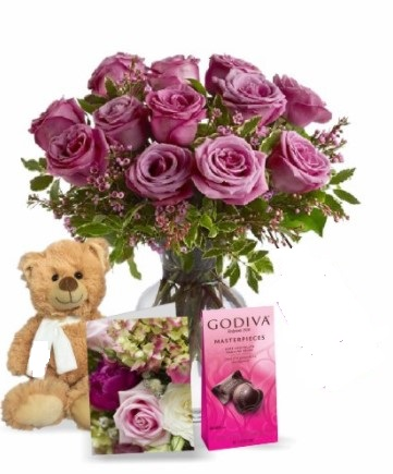 Lavender Roses with Teddy & Chocolate