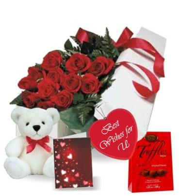 Rose Gift Box with Teddy Bear Chocolate