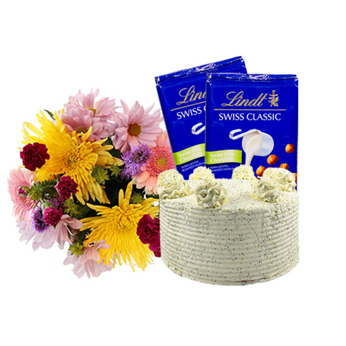 Fresh Lemon Rose Cake with Flowers and Chocolate