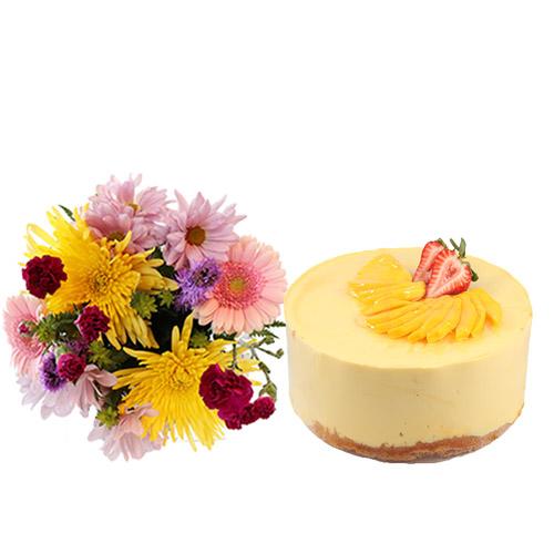 Mango Mousse Cake with Flowers