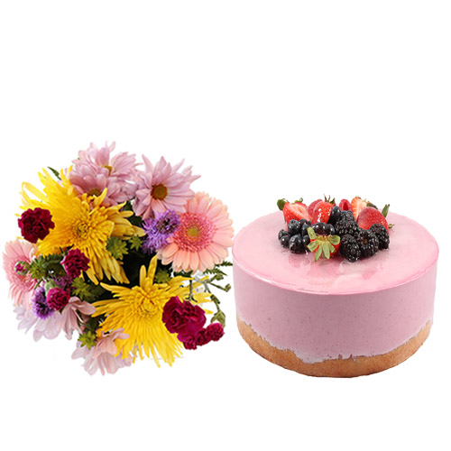 Mixed Berry Mousse Cake with Flowers