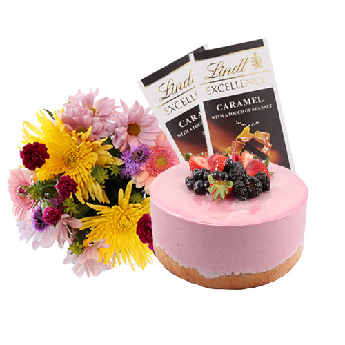 Mixed Berry Mousse Cake with Flowers and Chocolate