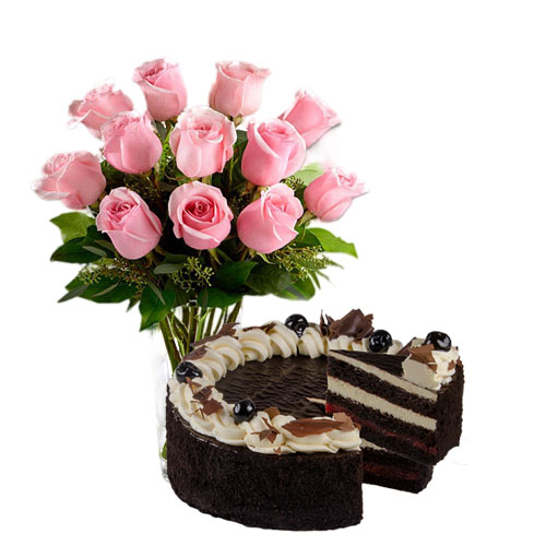 Pink Roses with Cherry Chocolate
