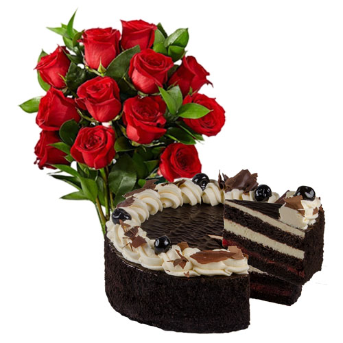 Red Roses with Cherry Chocolate