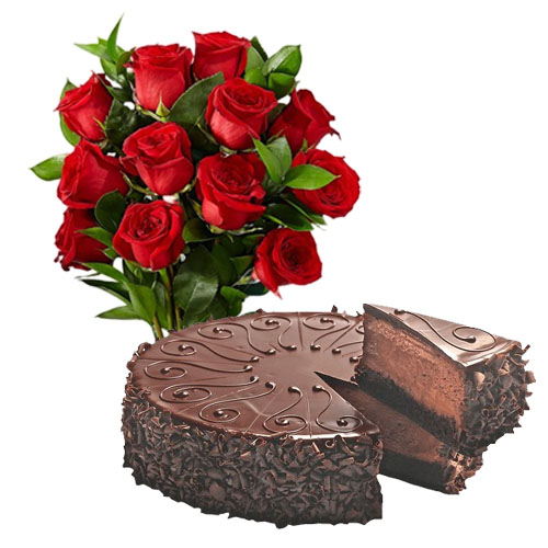 Red Roses with Chocolate Truffle