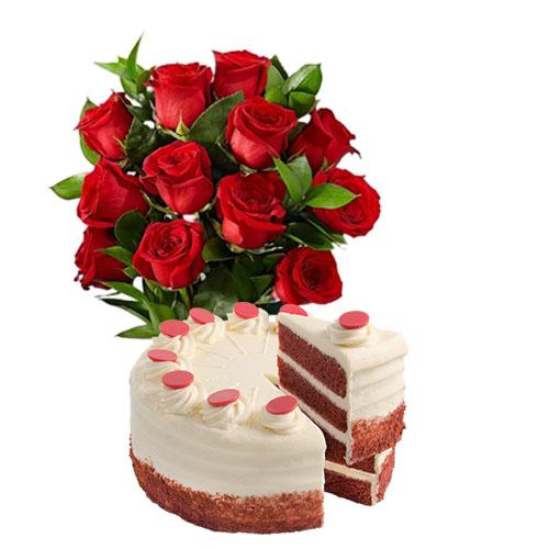Red Roses with Red Velvet Cake