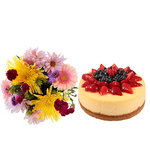 Strawberry Cheesecake with Flowers
