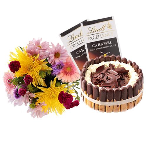 Tiramisu Layer Cake with Flowers and Chocolate